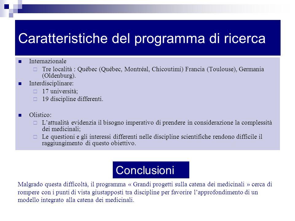 Caratteristiche del programma di ricerca Internazionale Tre località : Québec (Québec, Montréal, Chicoutimi) Francia (Toulouse), Germania (Oldenburg).