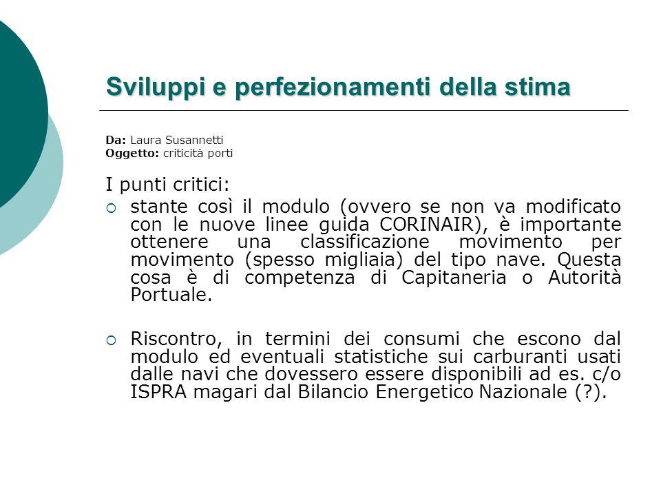 Sviluppi e perfezionamenti della stima Da: Laura Susannetti Oggetto: criticità porti I punti critici: stante così il modulo (ovvero se non va modifica