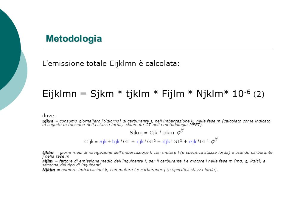Metodologia L'emissione totale Eijklmn è calcolata: Eijklmn = Sjkm * tjklm * Fijlm * Njklm* 10 -6 (2) dove: Sjkm Sjkm = consumo giornaliero [t/giorno]