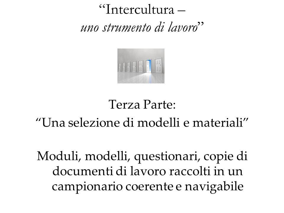 Intercultura – uno strumento di lavoro Terza Parte: Una selezione di modelli e materiali Moduli, modelli, questionari, copie di documenti di lavoro ra