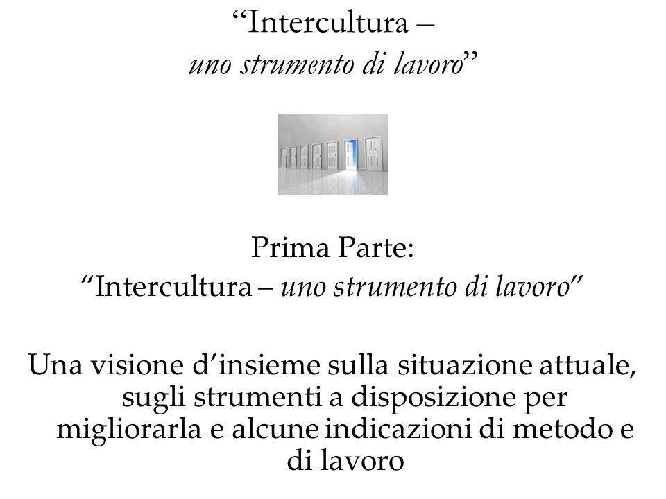 Intercultura – uno strumento di lavoro Prima Parte: Intercultura – uno strumento di lavoro Una visione dinsieme sulla situazione attuale, sugli strume