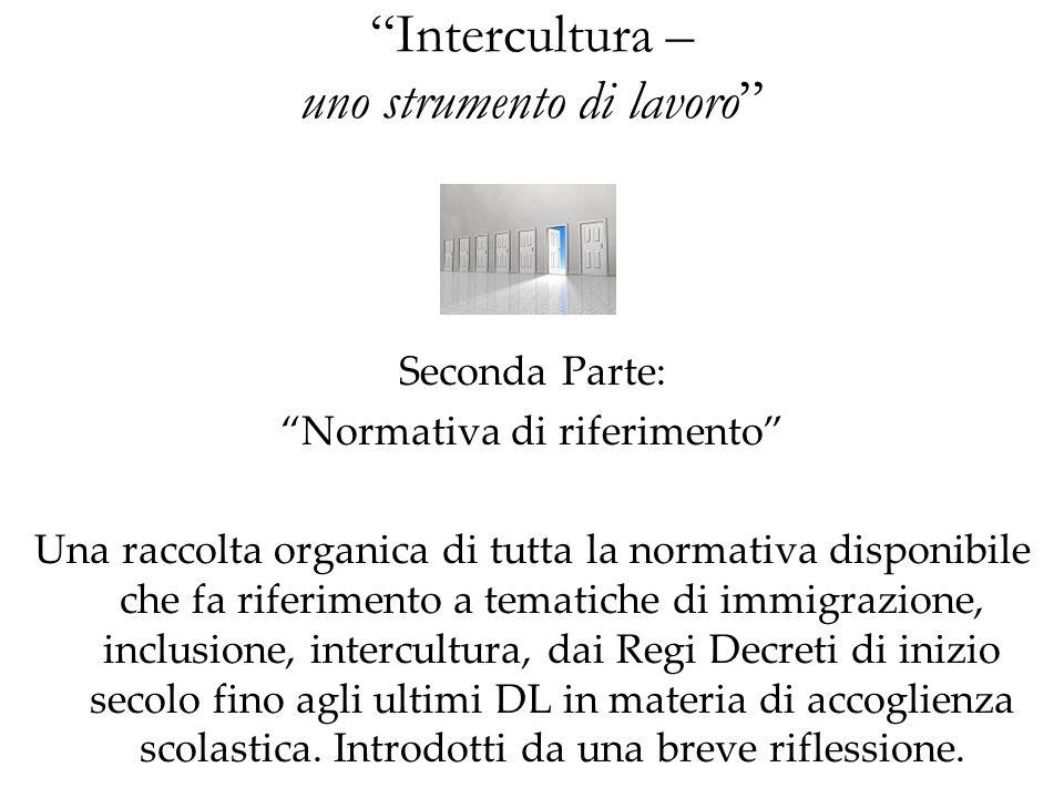 Intercultura – uno strumento di lavoro Seconda Parte: Normativa di riferimento Una raccolta organica di tutta la normativa disponibile che fa riferime