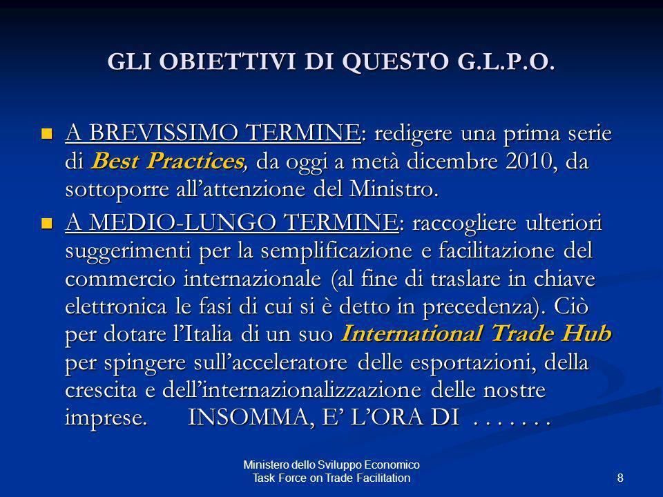 GLI OBIETTIVI DI QUESTO G.L.P.O. A BREVISSIMO TERMINE: redigere una prima serie di Best Practices, da oggi a metà dicembre 2010, da sottoporre allatte