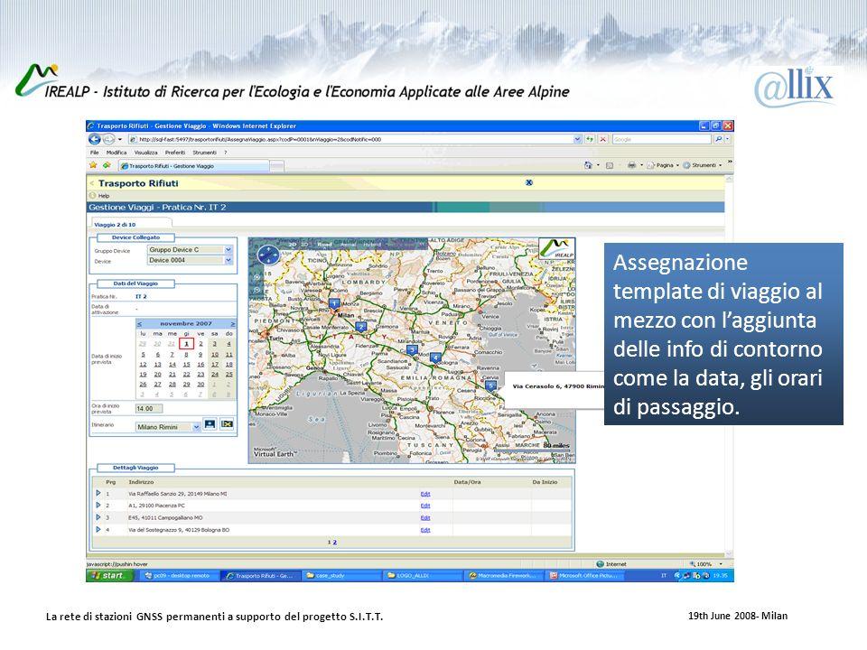 19th June 2008- Milan La rete di stazioni GNSS permanenti a supporto del progetto S.I.T.T.