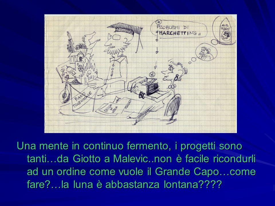 Una mente in continuo fermento, i progetti sono tanti…da Giotto a Malevic..non è facile ricondurli ad un ordine come vuole il Grande Capo…come fare?…l