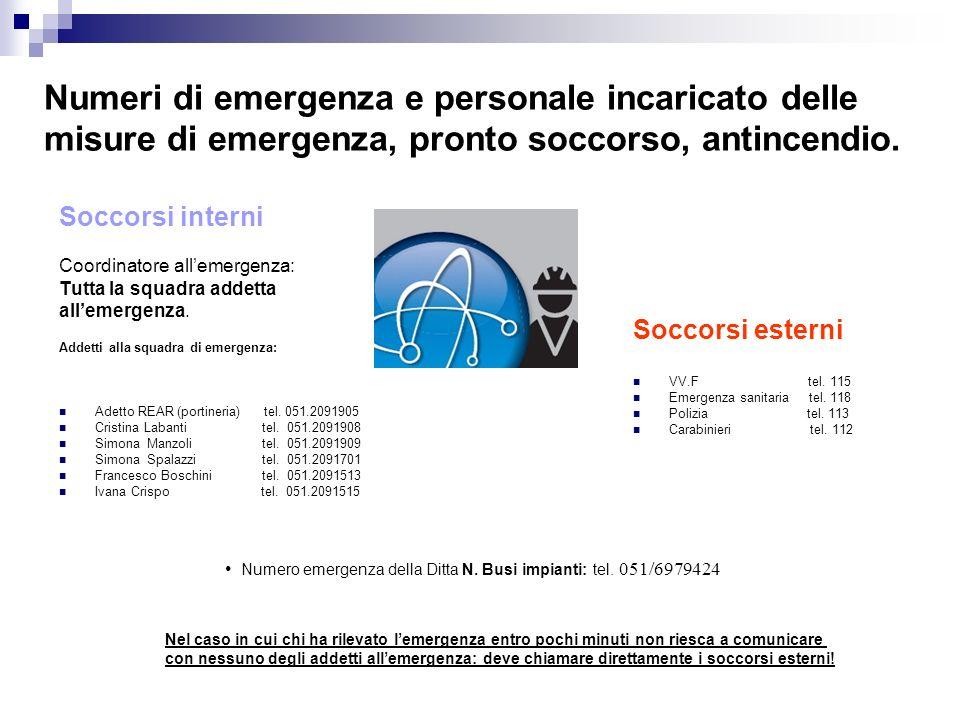 Numeri di emergenza e personale incaricato delle misure di emergenza, pronto soccorso, antincendio. Soccorsi interni Coordinatore allemergenza: Tutta