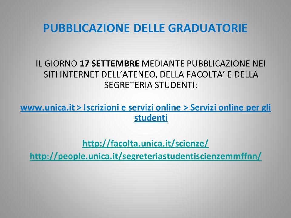 PUBBLICAZIONE DELLE GRADUATORIE IL GIORNO 17 SETTEMBRE MEDIANTE PUBBLICAZIONE NEI SITI INTERNET DELLATENEO, DELLA FACOLTA E DELLA SEGRETERIA STUDENTI: