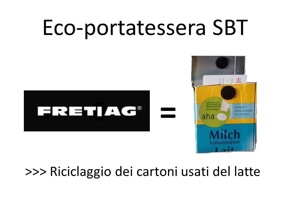 Eco-portatessera SBT = >>> Riciclaggio dei cartoni usati del latte