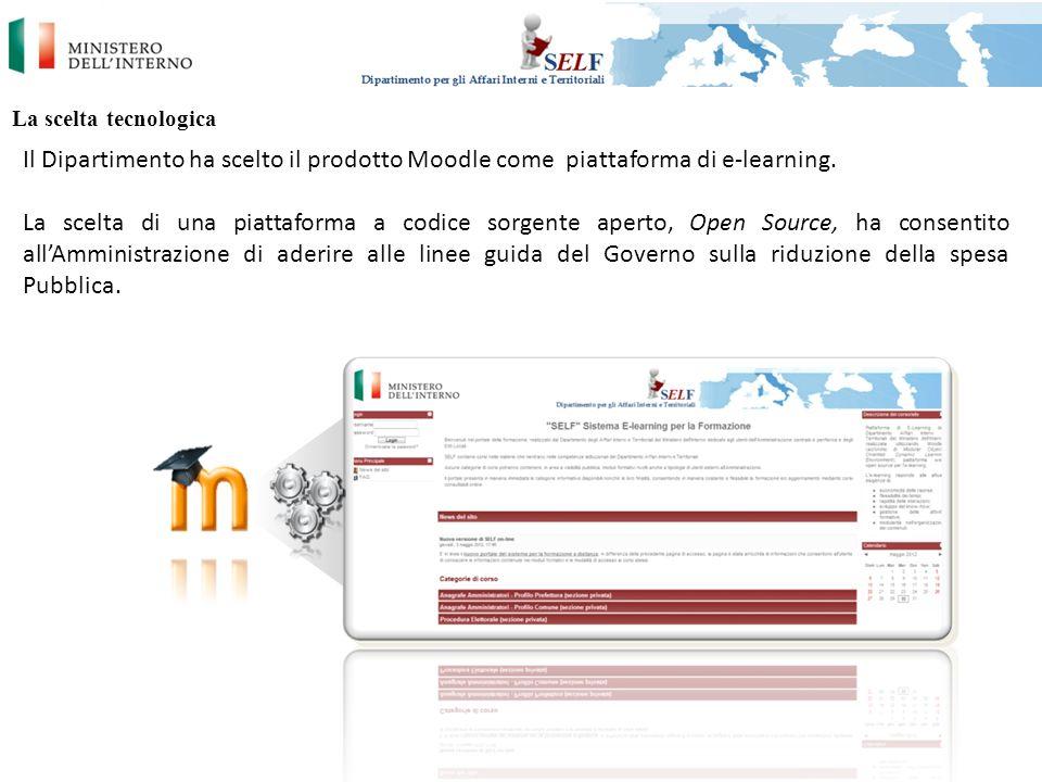 La scelta tecnologica Il Dipartimento ha scelto il prodotto Moodle come piattaforma di e-learning.
