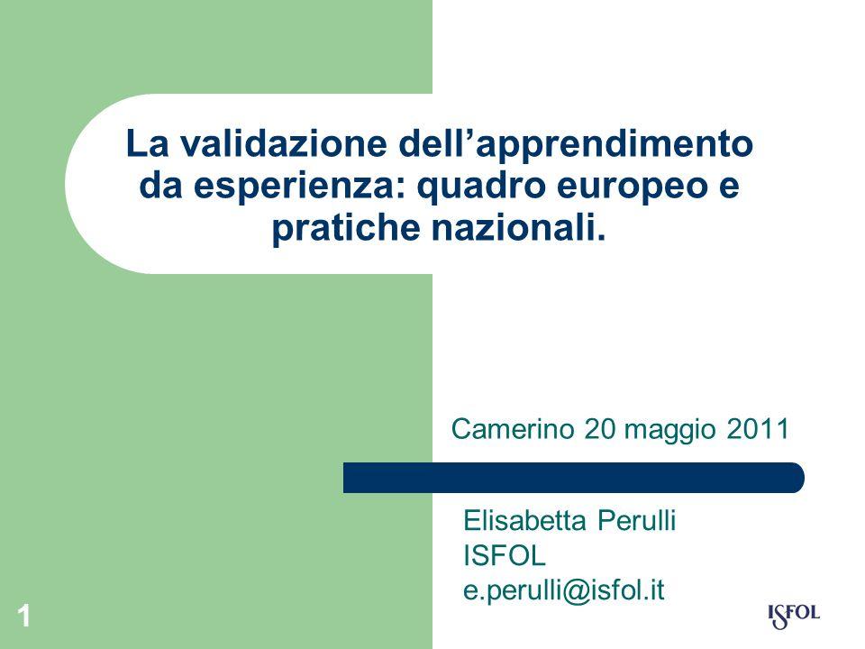1 La validazione dellapprendimento da esperienza: quadro europeo e pratiche nazionali. Camerino 20 maggio 2011 Elisabetta Perulli ISFOL e.perulli@isfo
