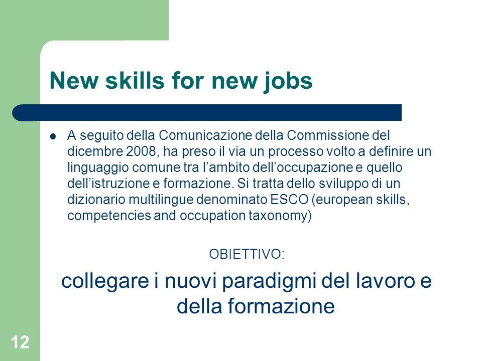 12 New skills for new jobs A seguito della Comunicazione della Commissione del dicembre 2008, ha preso il via un processo volto a definire un linguagg