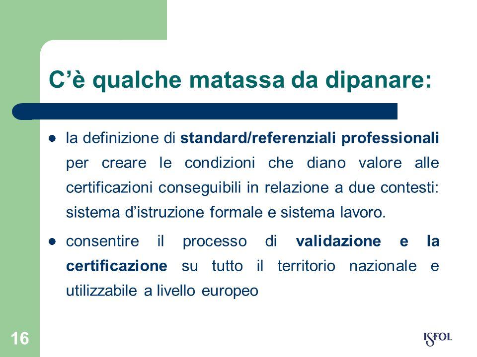 16 Cè qualche matassa da dipanare: la definizione di standard/referenziali professionali per creare le condizioni che diano valore alle certificazioni
