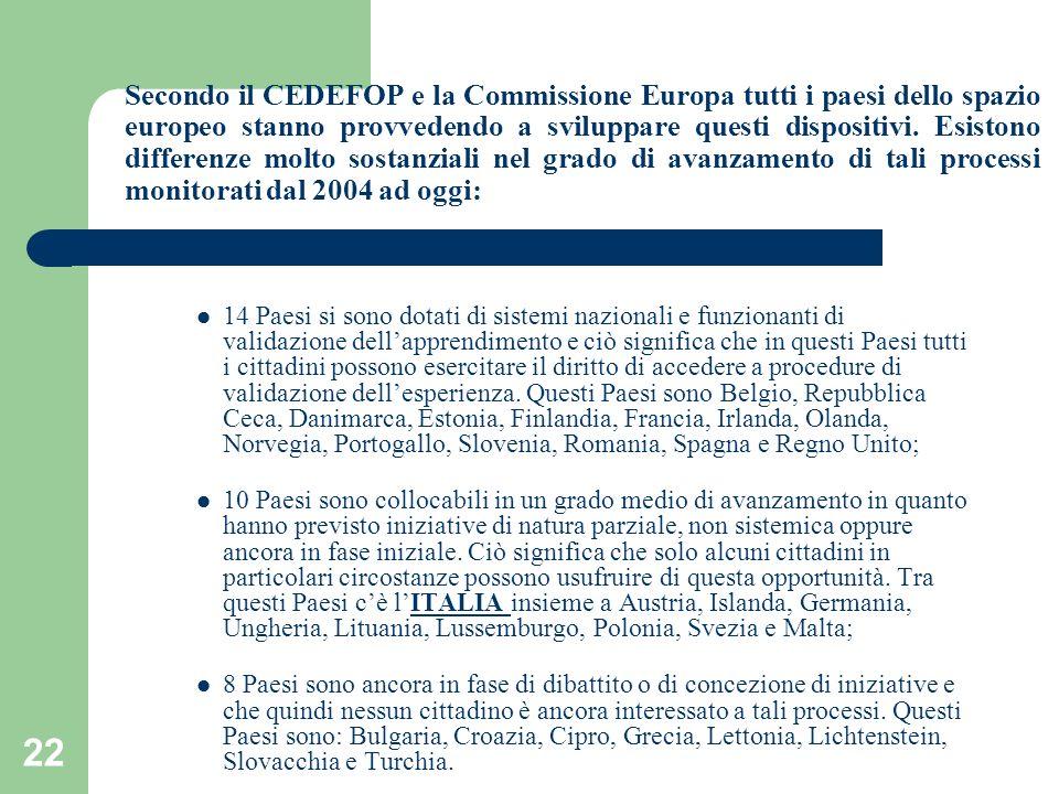 22 Secondo il CEDEFOP e la Commissione Europa tutti i paesi dello spazio europeo stanno provvedendo a sviluppare questi dispositivi. Esistono differen