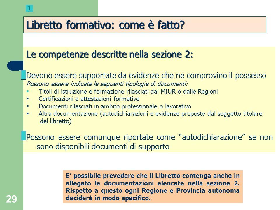 29 Le competenze descritte nella sezione 2: Devono essere supportate da evidenze che ne comprovino il possesso Possono essere indicate le seguenti tip