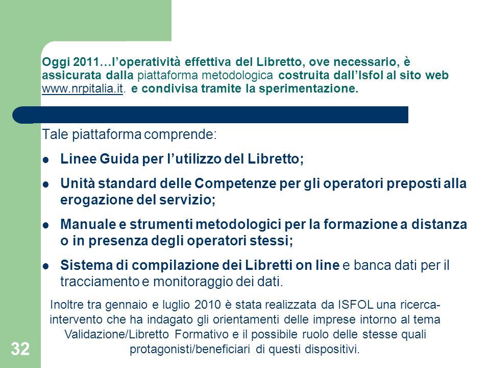 32 Oggi 2011…loperatività effettiva del Libretto, ove necessario, è assicurata dalla piattaforma metodologica costruita dallIsfol al sito web www.nrpi