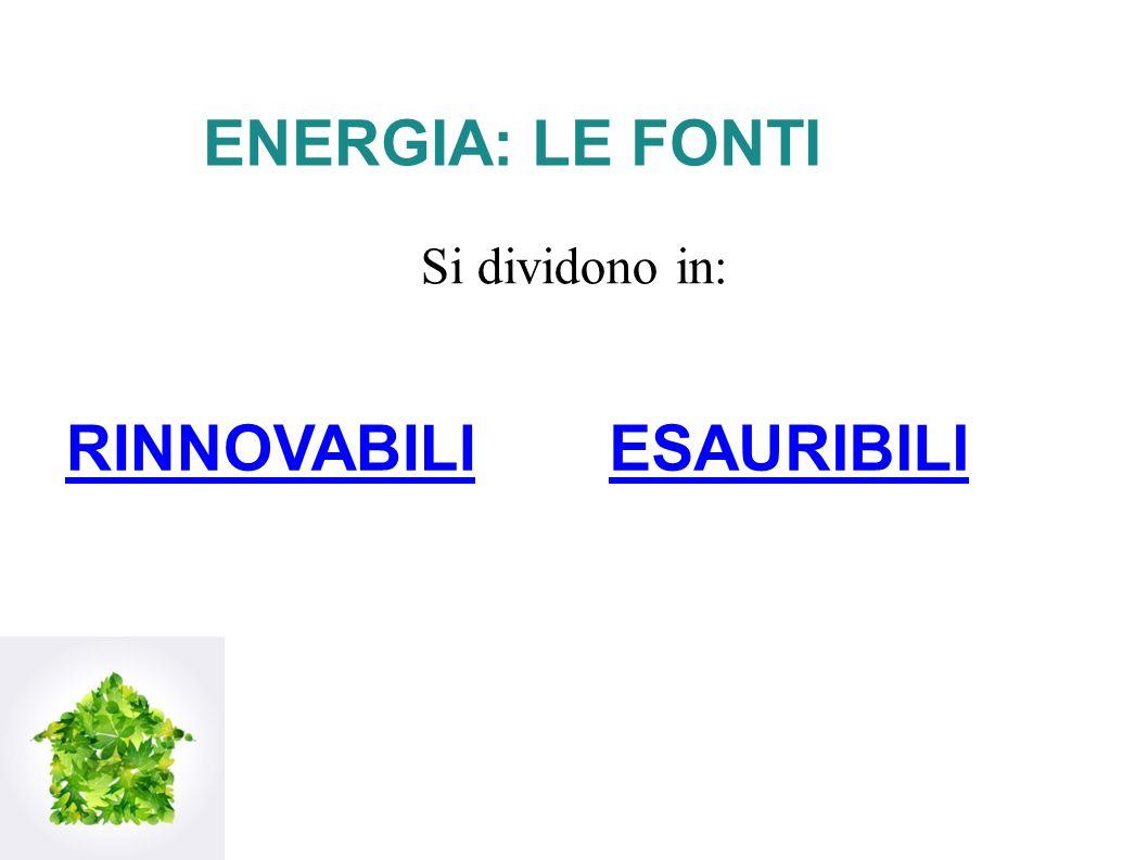 ENERGIA: LE FONTI Si dividono in: ESAURIBILIRINNOVABILI