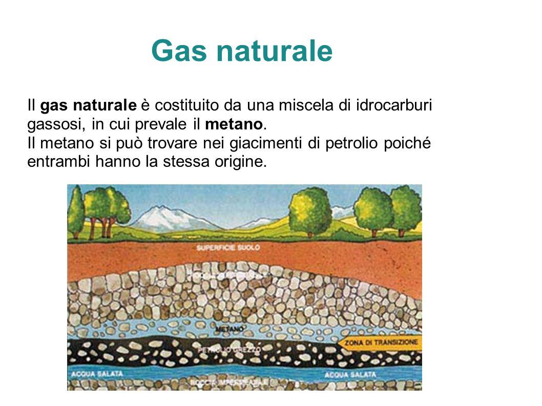 Gas naturale Il gas naturale è costituito da una miscela di idrocarburi gassosi, in cui prevale il metano.
