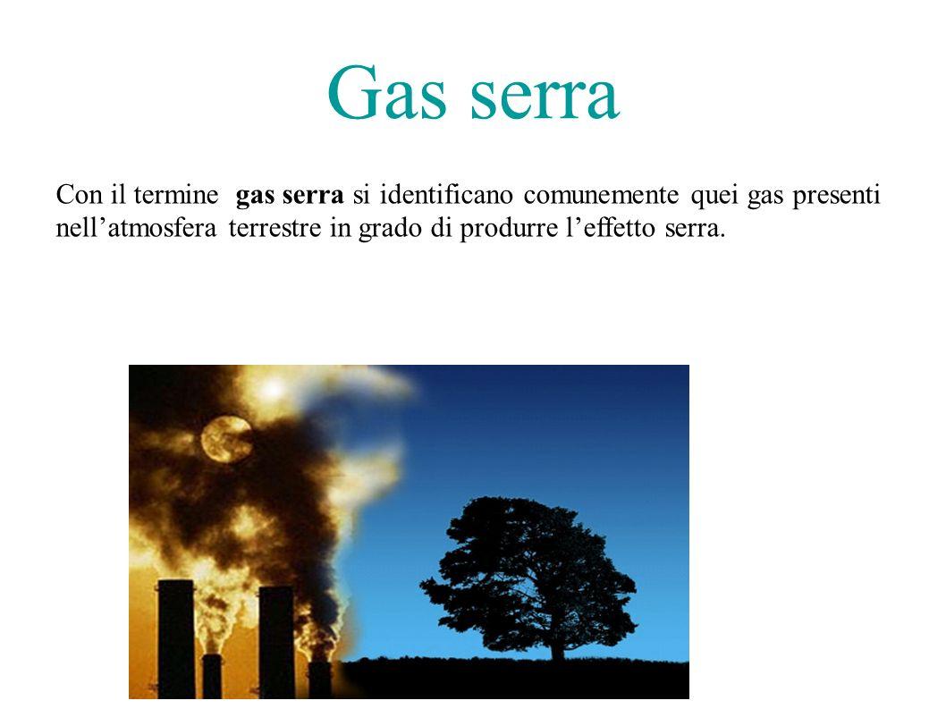 Con il termine gas serra si identificano comunemente quei gas presenti nellatmosfera terrestre in grado di produrre leffetto serra.