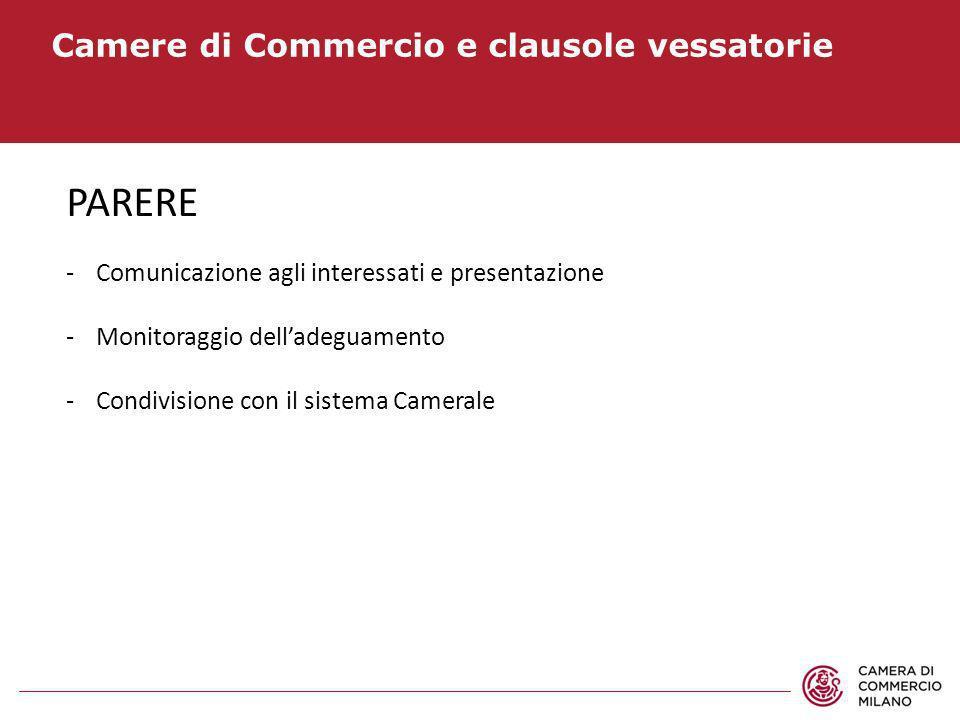 Camere di Commercio e clausole vessatorie PARERE -Comunicazione agli interessati e presentazione -Monitoraggio delladeguamento -Condivisione con il si