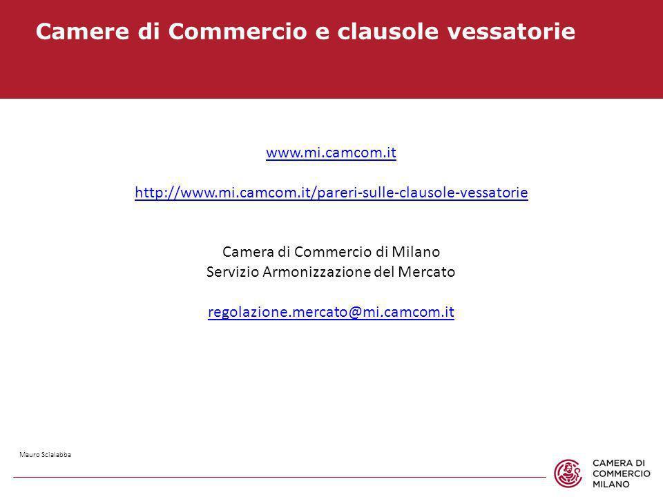 Camere di Commercio e clausole vessatorie www.mi.camcom.it http://www.mi.camcom.it/pareri-sulle-clausole-vessatorie Camera di Commercio di Milano Serv