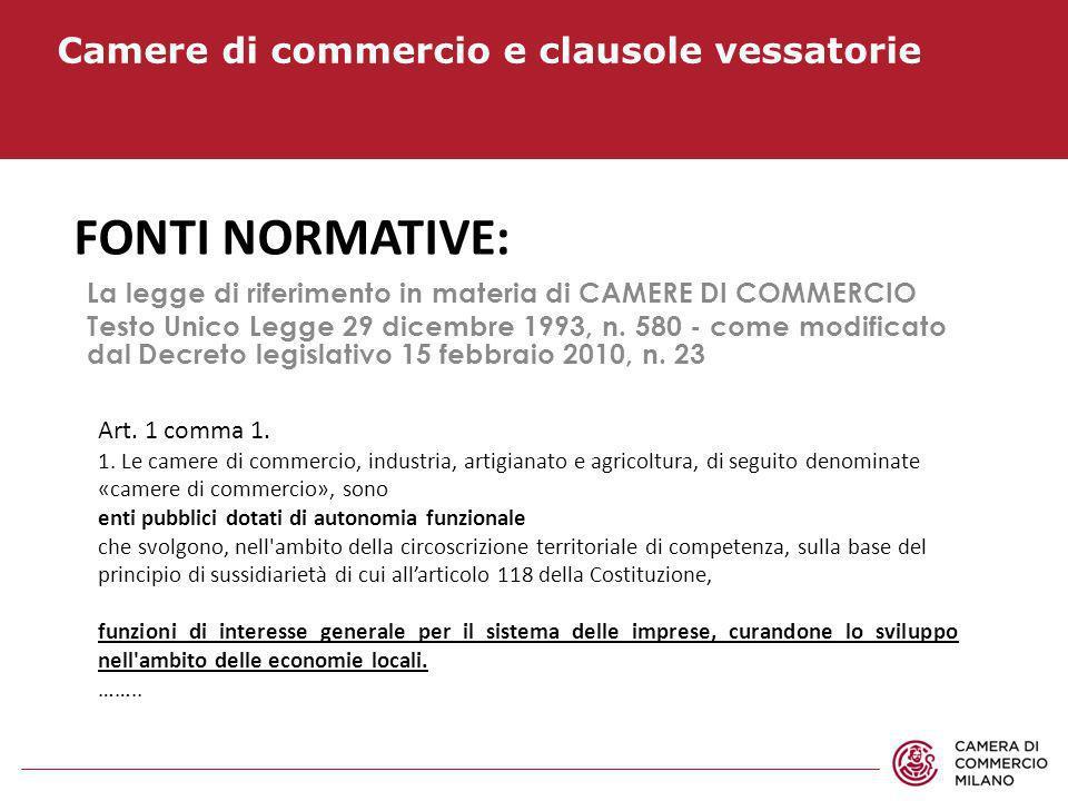 Camere di commercio e clausole vessatorie FONTI NORMATIVE: La legge di riferimento in materia di CAMERE DI COMMERCIO Testo Unico Legge 29 dicembre 199