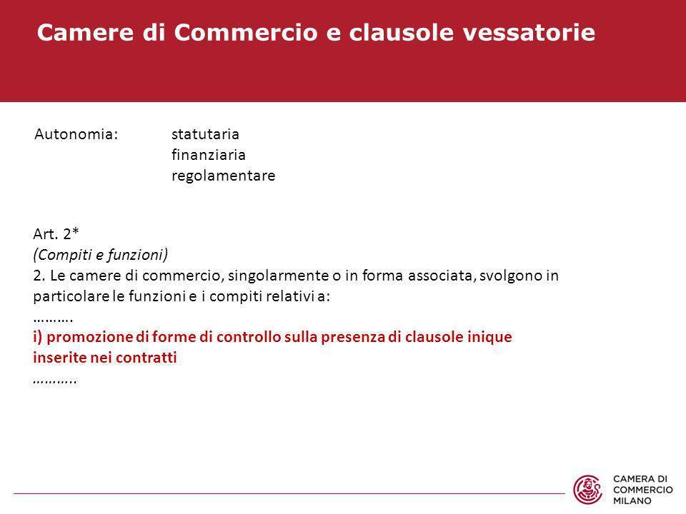 Camere di Commercio e clausole vessatorie Art. 2* (Compiti e funzioni) 2. Le camere di commercio, singolarmente o in forma associata, svolgono in part