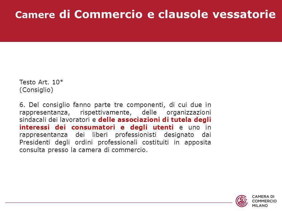 Camere di Commercio e clausole vessatorie Testo Art. 10* (Consiglio) 6. Del consiglio fanno parte tre componenti, di cui due in rappresentanza, rispet
