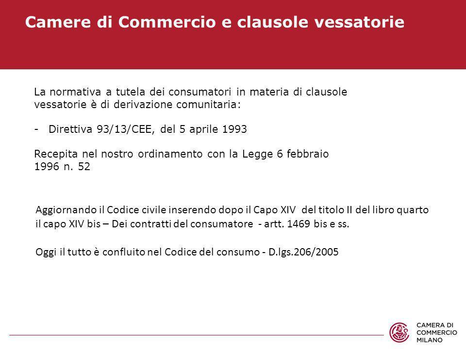 Camere di Commercio e clausole vessatorie La normativa a tutela dei consumatori in materia di clausole vessatorie è di derivazione comunitaria: -Diret