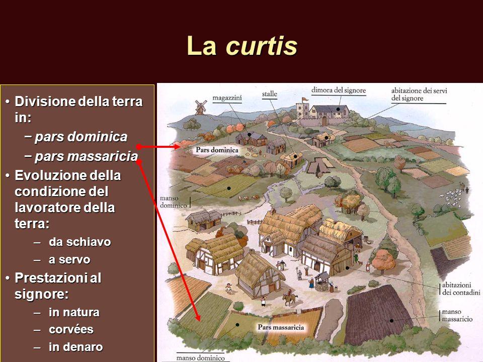La curtis Divisione della terra in:Divisione della terra in: pars dominica pars dominica pars massaricia pars massaricia Evoluzione della condizione d