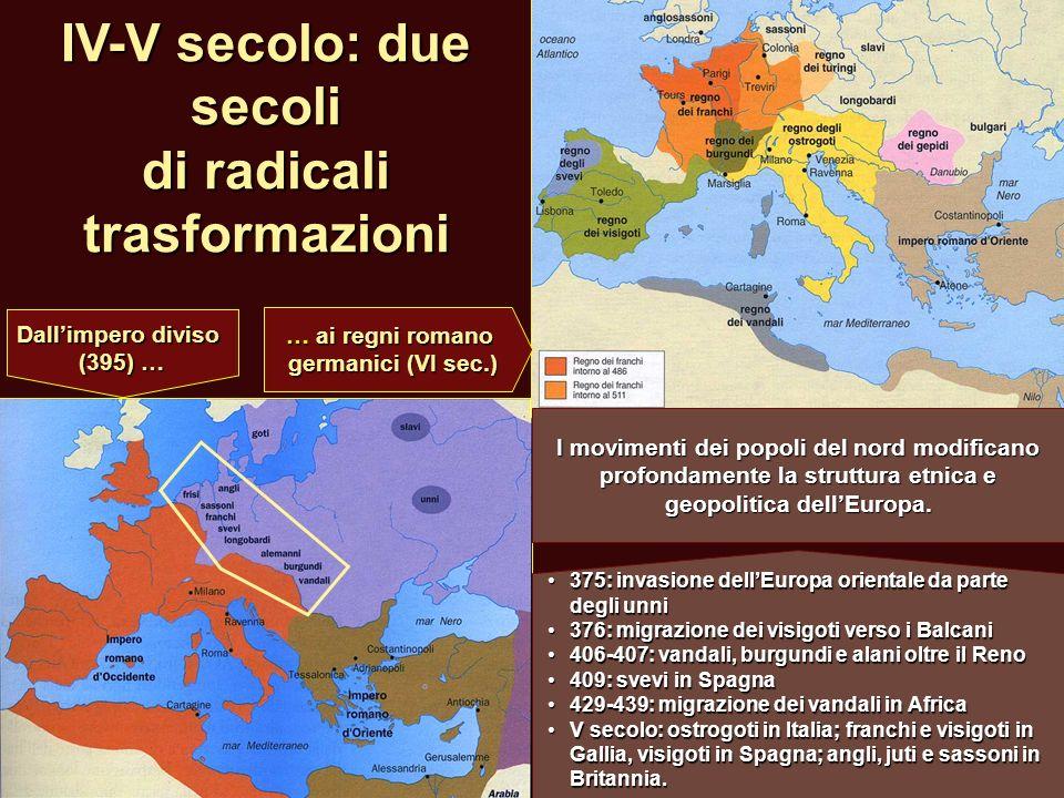 IV-V secolo: due secoli di radicali trasformazioni 375: invasione dellEuropa orientale da parte degli unni 375: invasione dellEuropa orientale da part