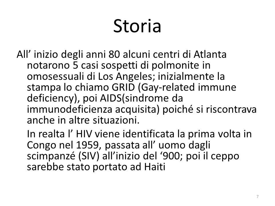 Storia All inizio degli anni 80 alcuni centri di Atlanta notarono 5 casi sospetti di polmonite in omosessuali di Los Angeles; inizialmente la stampa lo chiamo GRID (Gay-related immune deficiency), poi AIDS(sindrome da immunodeficienza acquisita) poiché si riscontrava anche in altre situazioni.