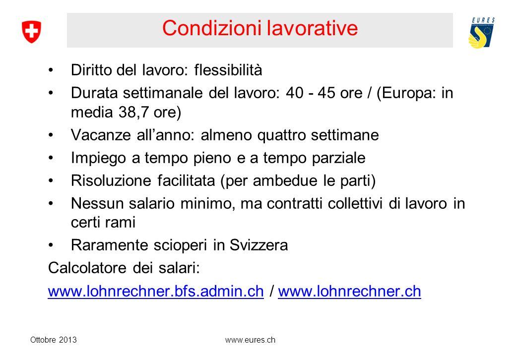 www.eures.ch Disoccupazione – ø Agosto 2013 Ottobre 2013 3.0 % Tasso di disoccupazione) (Svizzeri 2,2 % Stranieri 5,5 %) 2.5 % Svizzera tedesca 4.4 % Svizzera romanda e Ticino 3.6 % Disoccupazione giovanile (4,5 % nellagosto 2010)