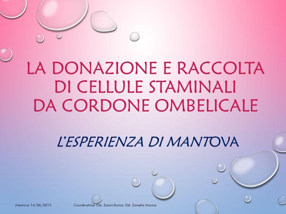 LA DONAZIONE E RACCOLTA DI CELLULE STAMINALI DA CORDONE OMBELICALE LESPERIENZA DI MANTOVA Mantova 14/06/2013 Coordinatrice Ost.