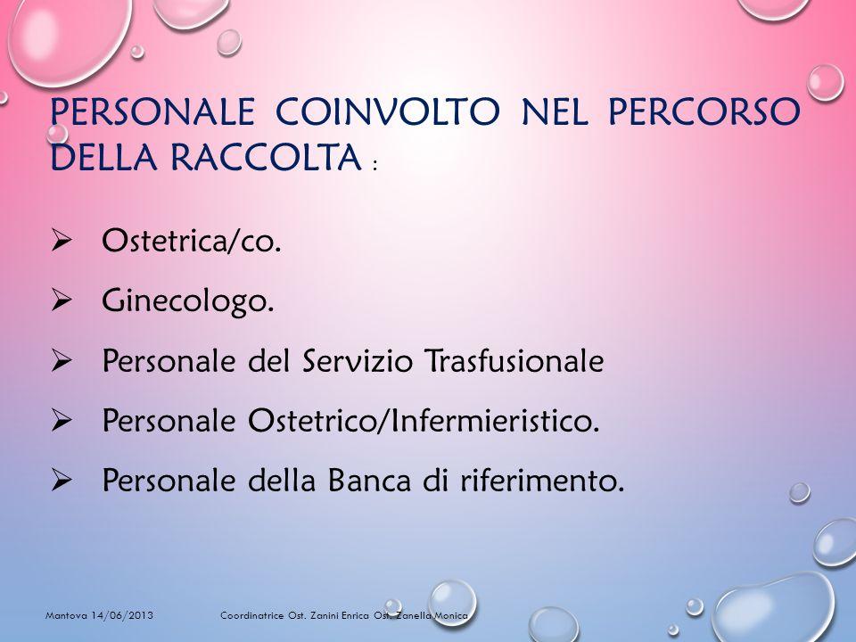 PERSONALE COINVOLTO NEL PERCORSO DELLA RACCOLTA : Ostetrica/co. Ginecologo. Personale del Servizio Trasfusionale Personale Ostetrico/Infermieristico.