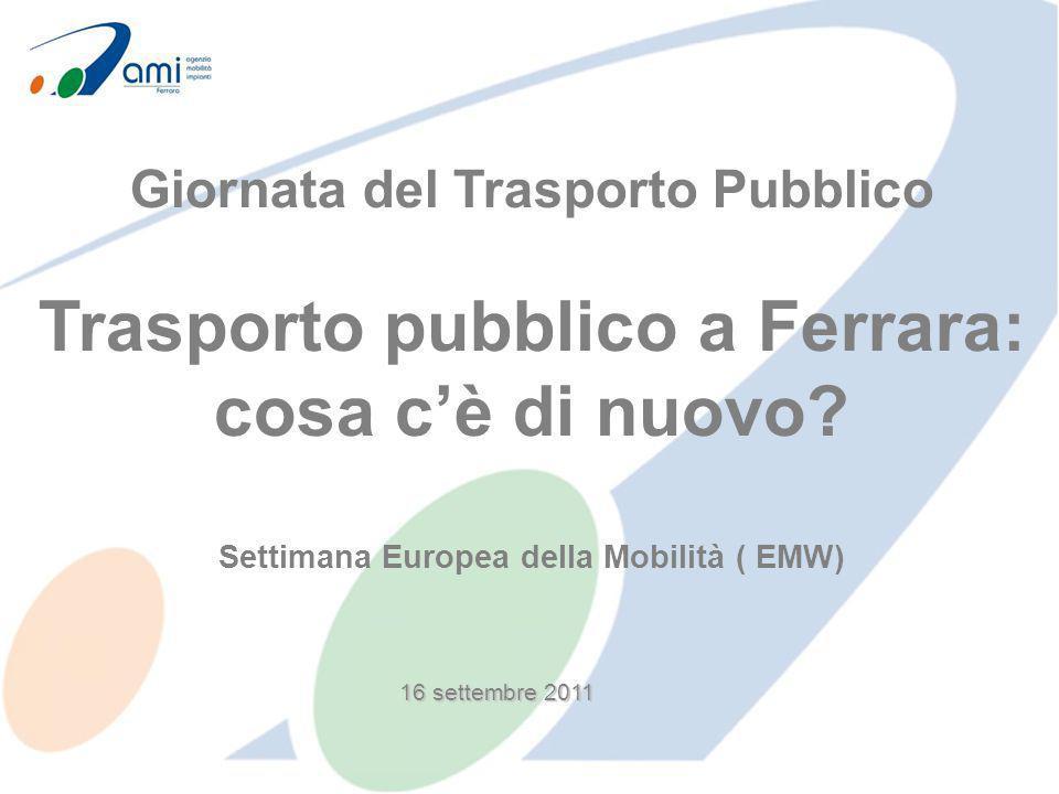16 settembre 2011 Giornata del Trasporto Pubblico Trasporto pubblico a Ferrara: cosa cè di nuovo? Settimana Europea della Mobilità ( EMW)