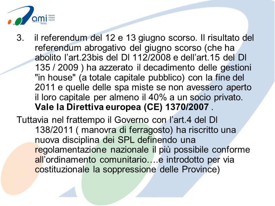 3. il referendum del 12 e 13 giugno scorso. Il risultato del referendum abrogativo del giugno scorso (che ha abolito lart.23bis del Dl 112/2008 e dell