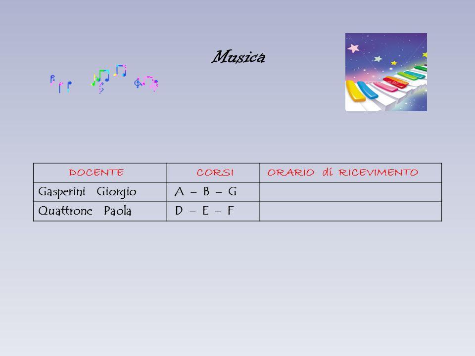 Musica DOCENTE CORSI ORARIO di RICEVIMENTO Gasperini Giorgio A – B – G Quattrone Paola D – E – F