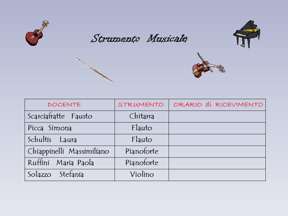 Strumento Musica le DOCENTESTRUMENTO ORARIO di RICEVIMENTO Scarciafratte FaustoChitarra Picca SimonaFlauto Schultis LauraFlauto Chiappinelli Massimili