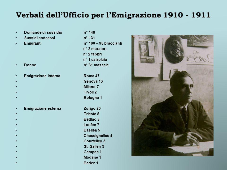 Verbali dellUfficio per lEmigrazione 1910 - 1911 Domande di sussidion° 140 Sussidi concessin° 131 Emigrantin° 100 – 95 braccianti n° 2 muratori n° 2 f