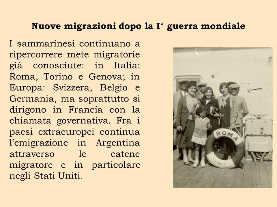 Nuove migrazioni dopo la I° guerra mondiale I sammarinesi continuano a ripercorrere mete migratorie già conosciute: in Italia: Roma, Torino e Genova;