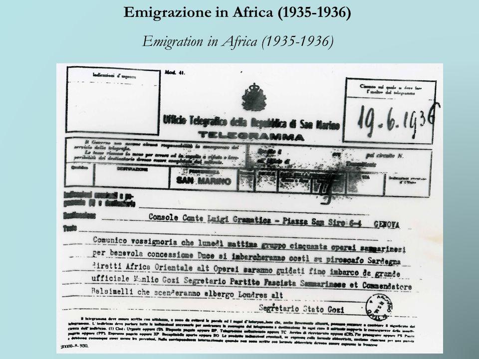 Emigrazione in Africa (1935-1936) Emigration in Africa (1935-1936)