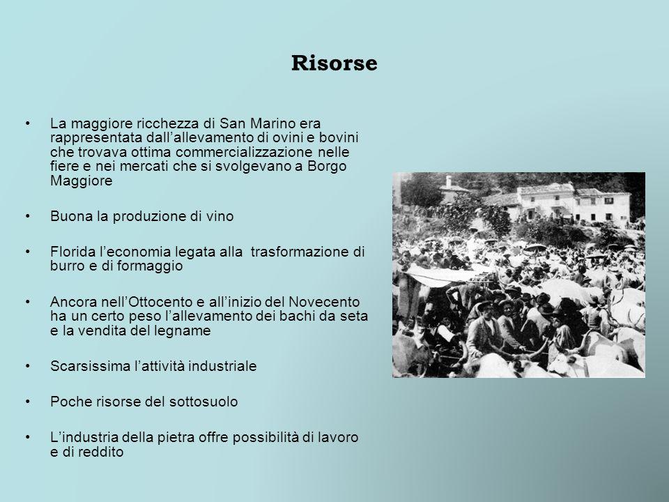 Risorse La maggiore ricchezza di San Marino era rappresentata dallallevamento di ovini e bovini che trovava ottima commercializzazione nelle fiere e n