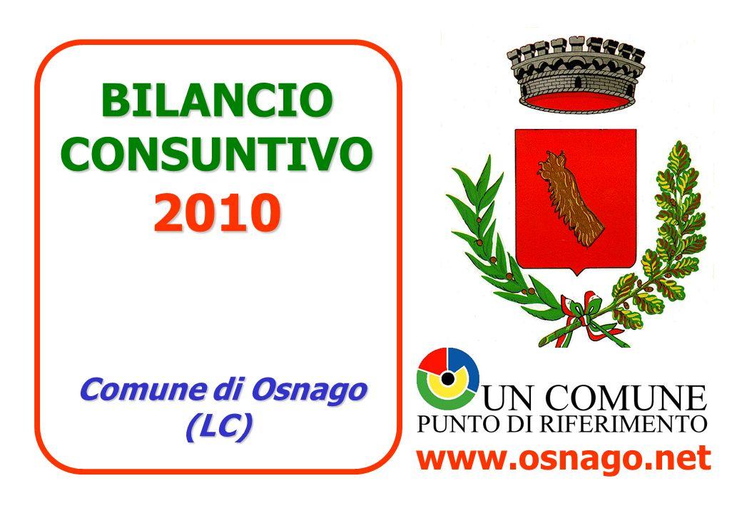 BILANCIO CONSUNTIVO 2010 Comune di Osnago (LC) www.osnago.net
