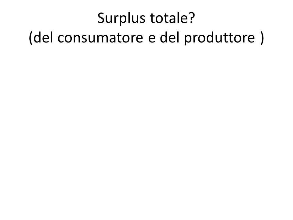 Surplus totale? (del consumatore e del produttore )