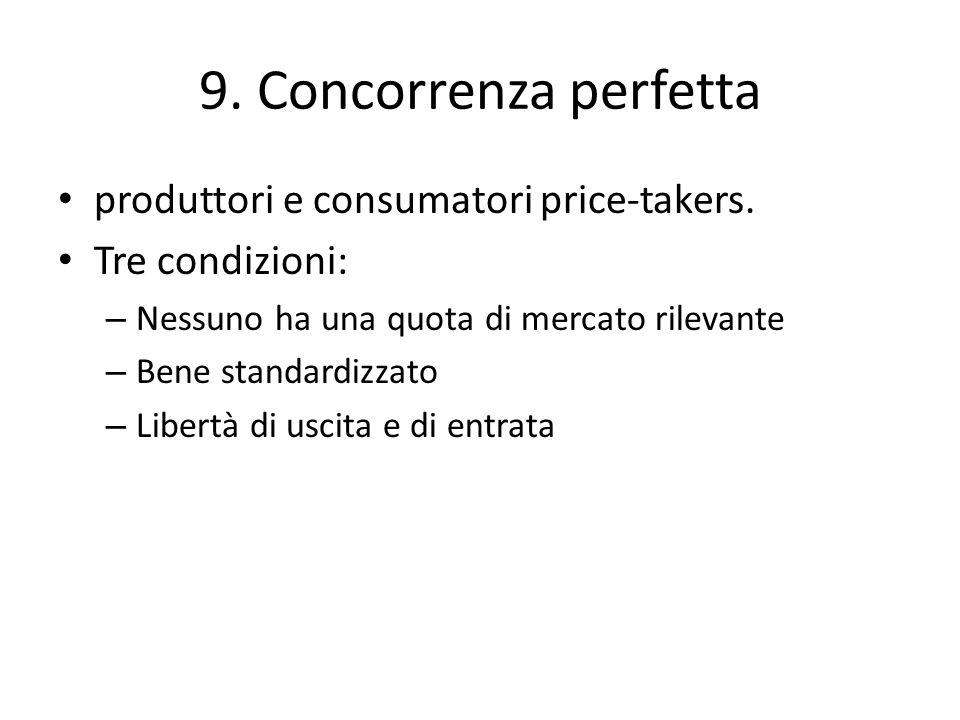 9. Concorrenza perfetta produttori e consumatori price-takers. Tre condizioni: – Nessuno ha una quota di mercato rilevante – Bene standardizzato – Lib