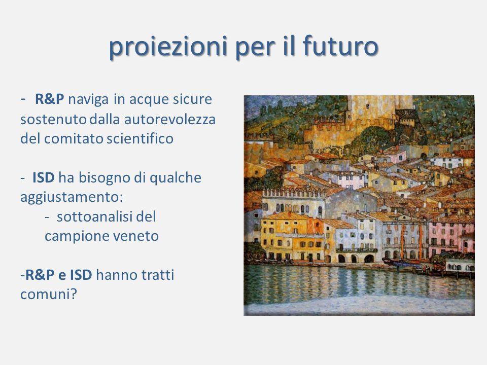 proiezioni per il futuro - R&P naviga in acque sicure sostenuto dalla autorevolezza del comitato scientifico - ISD ha bisogno di qualche aggiustamento: - sottoanalisi del campione veneto -R&P e ISD hanno tratti comuni