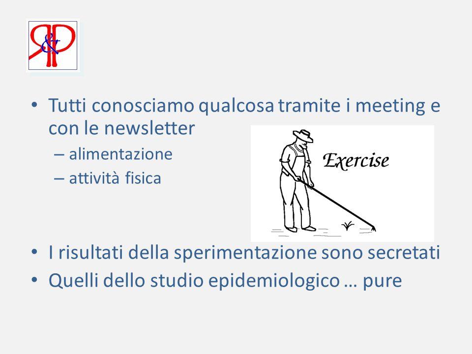 Tutti conosciamo qualcosa tramite i meeting e con le newsletter – alimentazione – attività fisica I risultati della sperimentazione sono secretati Quelli dello studio epidemiologico … pure