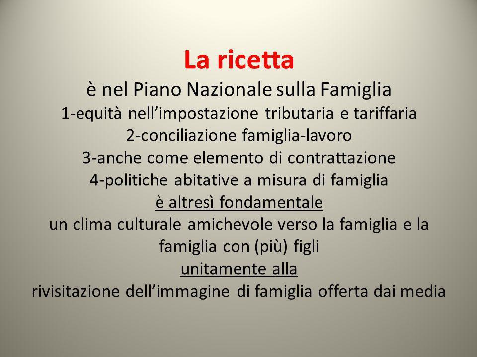 La ricetta è nel Piano Nazionale sulla Famiglia 1-equità nellimpostazione tributaria e tariffaria 2-conciliazione famiglia-lavoro 3-anche come element