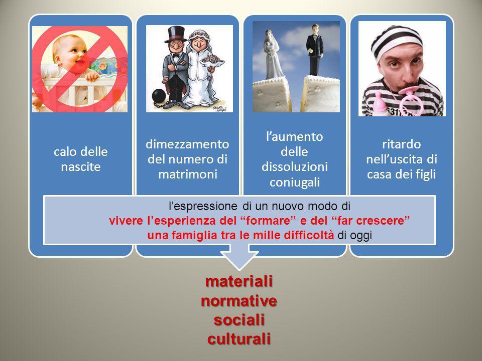 materialinormativesocialiculturali calo delle nascite dimezzamento del numero di matrimoni laumento delle dissoluzioni coniugali ritardo nelluscita di
