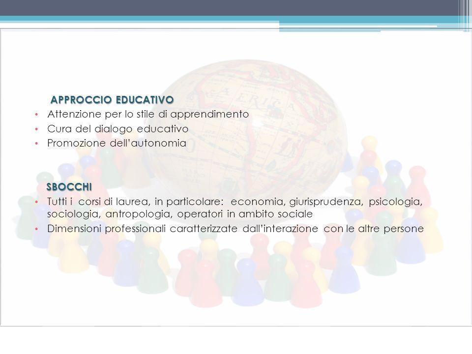 APPROCCIO EDUCATIVO Attenzione per lo stile di apprendimento Cura del dialogo educativo Promozione dellautonomia SBOCCHI Tutti i corsi di laurea, in p